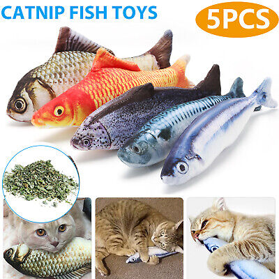 5 Pack Realistic Interactive Fish Cat Kicker Crazy Pet Toy Catnip Toys Gift
