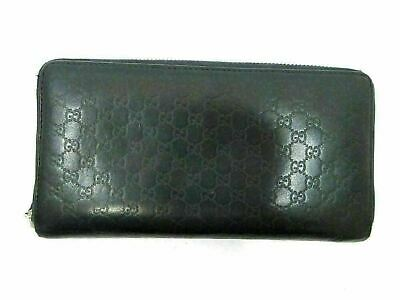Authentic GUCCI Zip Around Long Wallet 307987 Black Leather 81827