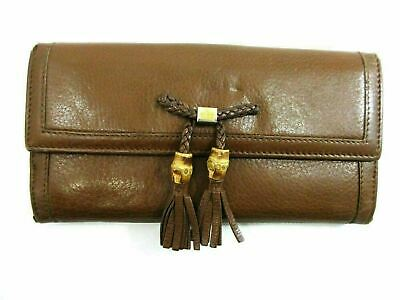 Authentic GUCCI Banboo Long Wallet 269981 Leather Brown 81769