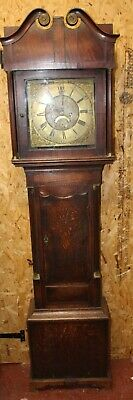 1880 -Brass Face Oak Case 8 Day Grandfather Clock -Sam Lidwell