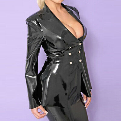Latex Rubber Catsuit Black Windbreaker Sexy Cosplay V-Neck Coat 0.4mm S-XXL