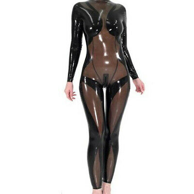 Latex Rubber Black coffee Catsuit Cosplay Overall Sport Bodysuit S-XXL 0.4mm