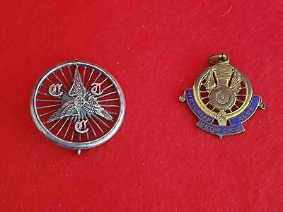 2 Rare Badges Victorian (Aust) Motor Cycle Club Fob & UK Cyclists Touring Club