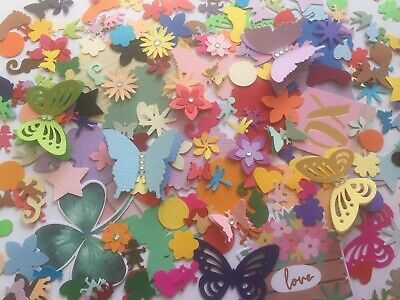 250 Bulk Mixed Scrap Book Punch / Die Cuts Hearts Animals Butterfly   Cardstock