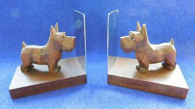 Vintage Art Deco Carved Wooden Scotty Dog Scottish Terrier Book Ends ANRI?