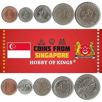 Money Set Of 5 Coins From Singapore. 1, 5, 10, 20, 50 Cents. 1967-1984.