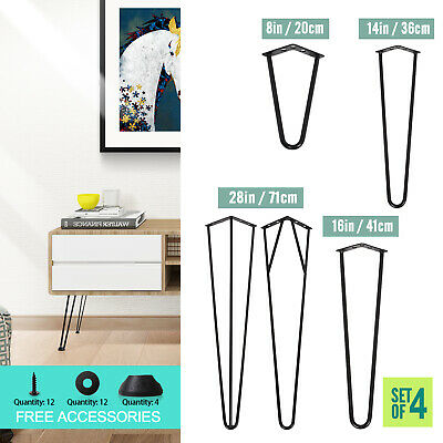 """4x Hairpin Legs Free Protectors Feet Steel Desk Table 2&3 Prong 8"""" 14"""" 16"""" 28"""""""