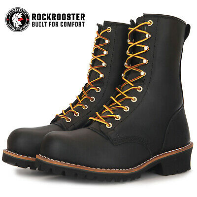 ROCKROOSTER Men's Work Boots Logger Boot Steel Toe Puncture Resistant Safety