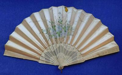 Exquisite Carved & Hand Painted Silk Ladies Hand Fan 1890s Aesthetic Movement