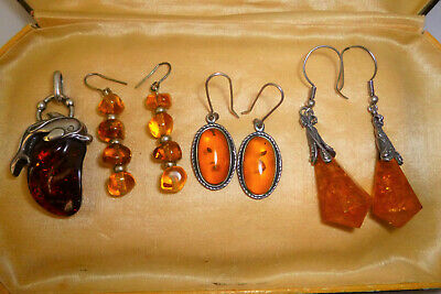 Vintage Jewellery Mixed Job Lot Of Silver Metal Amber Earrings & Pendant