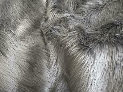 Super Luxury Faux Fur Fabric Material - LONG PILE DUSTY GREY