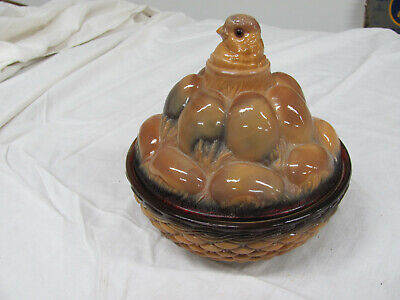 Westmoreland Chocolate Slag Glass Chick and Eggs in Basket Covered Dish
