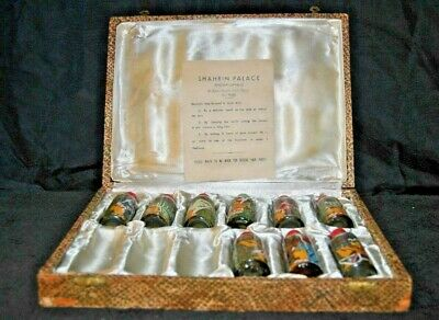 Vintage Shahrin Palace Perfumes * Egypt * Nine Hand Painted Bottles w/Case