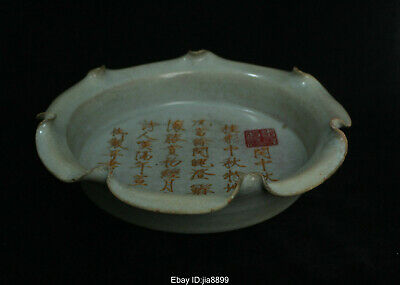 Collect Chinese Old Ru Kiln Porcelain Pottery Dynasty Plate Brush wash Statue 08