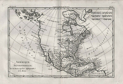 North America United States Canada California map Greenland Bonne Atlas 1780