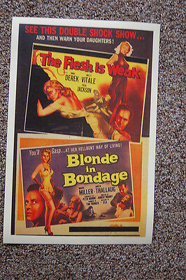 Double Feature Lobby Card Movie Poster The Flesh is Weak & Blonde in Bondage