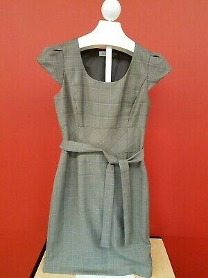 Calvin Klein Sheath Dress Women's Size 8 Glen Plaid Black Gray Sleeveless