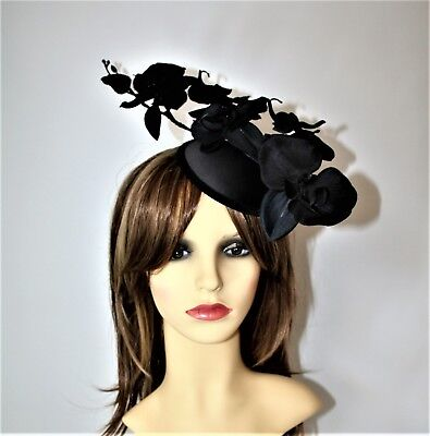Black Orchid Flower Pillbox Hat Clip- Fascinator - Wedding, Races, Party.