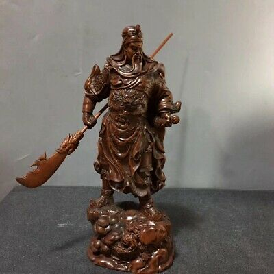 Collectable China Boxwood Hand-Carved Guan Yu Delicate Unique Decorate Statue