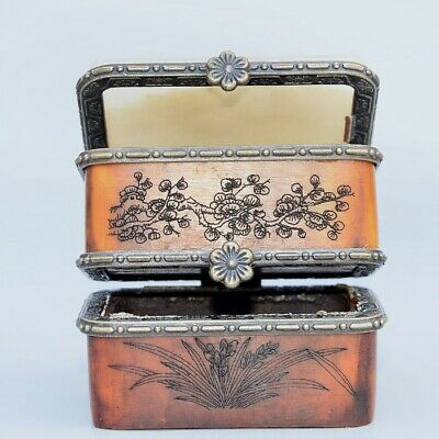 Collect Boxwood Inlay Jade Carve Flower & Happy Buddha Double Layer Jewel Box