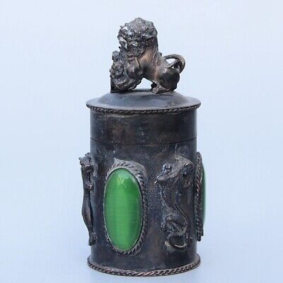 Collect China Old Bronze Inlay Agate Hand-Carved Myth Lion Luck Toothpick Box