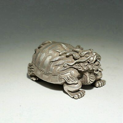Collect China Old Miao Silver Hand-Carved Bring Luck Myth Dragon Turtle Statue