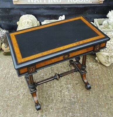 Quality Victorian Ebonised & Walnut Card Table Attributed To Gillow