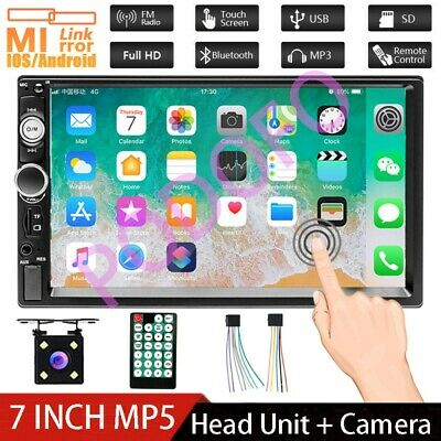 "7"" 2 Double DIN Car MP5 Player Bluetooth Mirror Link GPS Stereo Radio + Camera"