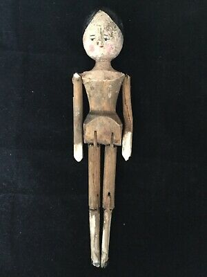 Antique Early Primitive Wooden Jointed Folk Art Peg Doll 10""