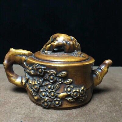 Collect China Boxwood Hand-Carved Bloomy Flower Precious Tea Pot Decor Statue