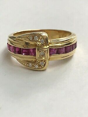 VINTAGE 18k YELLOW GOLD  RUBY DIAMOND ART DECO BAND RING Size-6