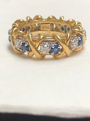 18K Yellow GOLD DIAMOND & BLUE SAPPHIRE RING 7.8g Size-6.5