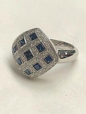 18K White GOLD DIAMOND & BLUE SAPPHIRE RING 8.2g Size-7