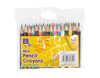 48 Mini Colouring Crayon Pencils Kids Adults Assorted Colours Home School Party