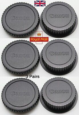 Camera Body Cap+ Rear Lens Cover for Canon EOS EF EF-S 200D 750D 80D 5D(3 Pairs)