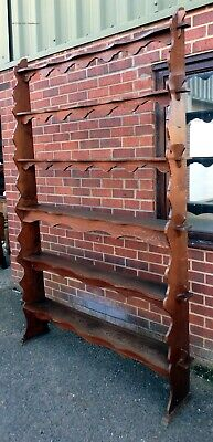 Huge Victorian antique Arts & Crafts gothic country house bookcase plate rack
