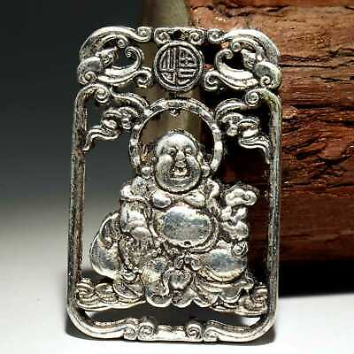 Collect China Old Miao Silver Hand-Carved Happy Buddha Moral Auspicious Pendant