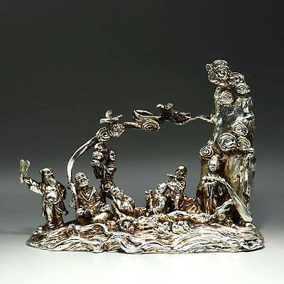 Collectable China Old Miao Silver Hand-Carved Eight Immortals Auspicious Statue