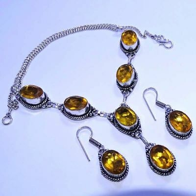 925 Sterling Silver Plated Citrine Topaz Necklace & Earrings Set Jewellery