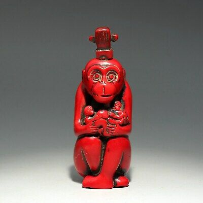 Collect China Old Red Coral Hand-Carved Monkey Interesting Delicate Snuff Bottle