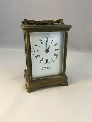 French Antique Brass Carriage Clock.. Drew & Co