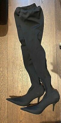 Balenciaga Over The Knee Knife Boots. Black Jersey. Size 37