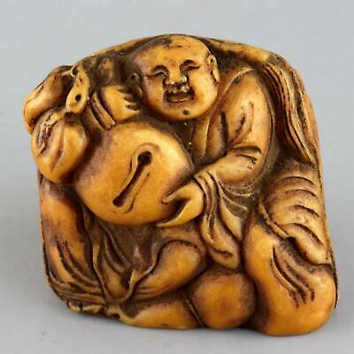 Collect China Old Shoushan Stone Carved Monk Hand Held MuYu Vivid Decor Statue