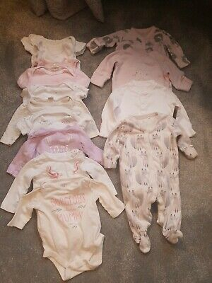 Job Lot Of Baby Clothes 0-3 Months Vests Sleepsuits. Includes Next Gap. Good Con