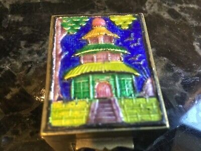 Antique Chinese Metal Blue Pagoda Enameled  Miniature Box, circa 1900, marked