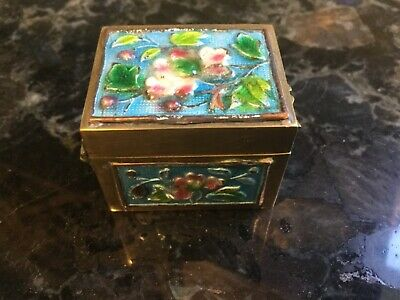 Antique Chinese Metal Blue Enameled  Miniature Box, circa 1900, marked