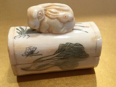 Antique Oriental Carved, Hand Painted Box with Mother Rabbit & Baby on Lid