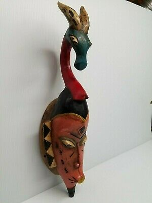 """Vintage African Africa Ivory Coast Carved Tribal Wooden Wood Mask Guro 25"""""""
