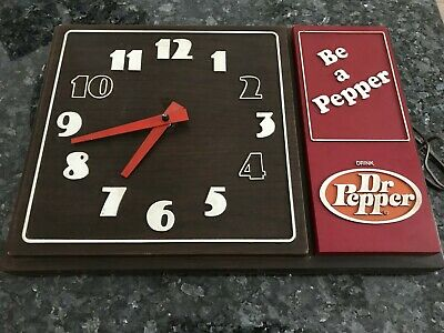 DR PEPPER Be a Pepper 10 2 4 Vintage Rectangular Advertising Plastic Wall Clock