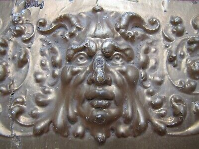 DEVILS HEAD Antique 19c Carved Wood Panel Architectural Decorative Arts Element